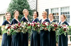 Black bridesmaids' dresses paired with blush and burgundy wedding bouquets in Washington, D.C. | Laura Louise Events