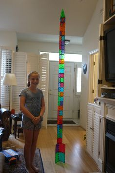 We built this 32 Magna-Tile high m) tower using 80 pieces from one 100 piece Value Pack set. Steam Activities, Indoor Activities, Activities For Kids, Magna Tiles, Magnetic Building Blocks, Kids Magnets, Science Projects For Kids, Vision Therapy, Little Learners