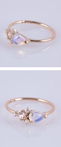 Opal, Morganite & Diamond Darling Cluster Ring