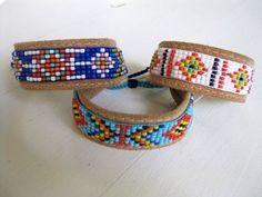 White beaded bracelet Czech beads on leather by tashajewelry