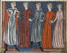 Pleasure and his companions engaging in a courtly dance; from Guillaume de Lorris and Jean de Meun's Roman de la Rose, France (Paris), c. 1320-c. 1340