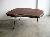 SALE Live Edge Redwood Table on Hairpin Legs.