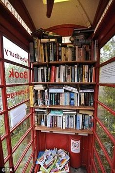 A new kind of street art: The Book Box. Villagers in the Somerset village of Westbury-sub-Mendip bought and converted an old red telephone box into a book exchange when their mobile library was cut. Click for more.
