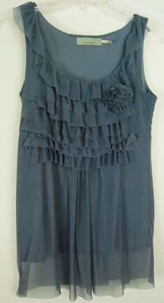 Burlapp Anthropologie M Tank Top Gray Blue Nylon Mesh Ruffles Cotton Lining