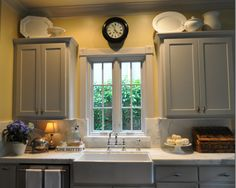 Love the color of these cabinets. Annie Sloan Chalk Paint- Paris Grey.