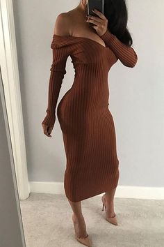 Rib-knit Off Shoulder Bodycon Maxi Dress Shop- Women's Best Online Shopping - Offering Huge Discounts on Dresses, Lingerie , Jumpsuits , Swimwear, Tops and More. Sexy Dresses, Cute Dresses, Dress Outfits, Casual Dresses, Fashion Outfits, Elegant Dresses, Summer Dresses, Formal Dresses, Awesome Dresses