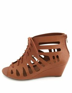 Caged Cut-Out Lace-Up Wedges: Charlotte Russe