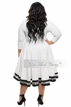 Final Sale Plus Size Dress in White with Black Trim