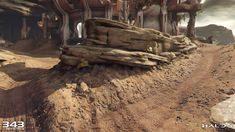 ArtStation - Halo Guardians - Attack of Sanctum & Temple, Aenok Oh Dirt Texture, Halo 5, Zbrush, Painting & Drawing, Temple, Rocks, Environment, Scene, Paintings