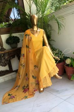 """""""The joy sometimes is in the simple beauty."""" Pure cotton, A line kurta in mango yellow, with a matching palazzo with cutwork and thread em… Pakistani Dress Design, Pakistani Dresses, Indian Dresses, Indian Outfits, Indian Clothes, Indian Attire, Indian Wear, Casual Dresses, Fashion Dresses"""