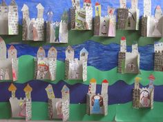 castle - folded for displaying classwork Castillo Feudal, Knights And Castles Topic, Castle Classroom, Projects For Kids, Art Projects, Preschool Crafts, Crafts For Kids, Chateau Moyen Age, Castle Crafts