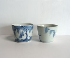 """Soba choko (buckwheat noodle cups) set of 2 - Japanese antique - willowy tree - """"kintsugi (golden repair)"""" - WhatsForPudding #1858a"""