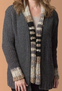 Free Knitting Pattern for Easy Cardigan - This easy sweater in 2 row repeat broken rib pattern features contrasting cuffs and front band.