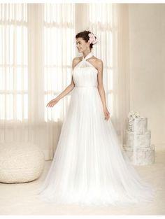 Robe de mariée femme en tulle applique avec bretelles évasée pas cher