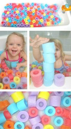 Noodle Bath Pit! Simple & Frugal Fun // {TIP} Teach Colors, Patterns & Counting.