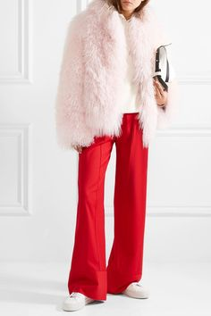 Pastel-pink and mushroom shearling Concealed hook fastenings through front 100% shearling (Lamb); lining: 100% polyester Dry clean Imported