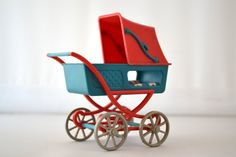 Dollhouse Plastic Baby Pram with Spread by RareAndCurio on Etsy, $30.00.  Liked this so I just bought it!