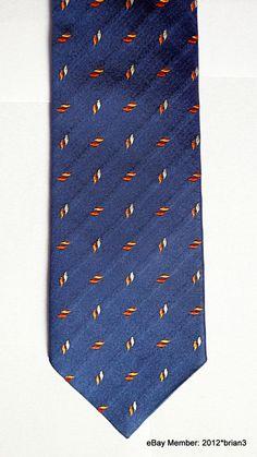 ebdab1b2 Ermenegildo Zegna Silk Tie Blue, With Red, Orange & Silver Woven Pattern