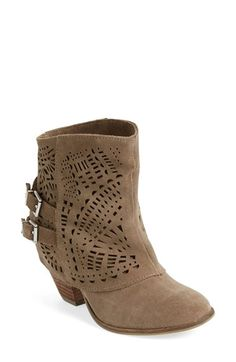 Free shipping and returns on Naughty Monkey 'Lyrics' Bootie (Women) at Nordstrom.com. Intricate geometric perforations detail a rustic Western bootie crafted in soft suede and set on blocky, partially wrapped stacked heel.