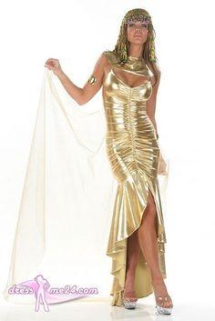 Besuche uns gern auch auf dressme24.com ;-) Sexy Cleopatra Kostüm No.4 - Edles goldfarbenes Stretch Lame Kleid mit eigenähten Raffungen und glockförmigen Rockteil. Inklusive Umhang, Halsbesatz und Kopfteil. Made in USA. #Damenkostüme, #Faschingskostüme, #Kleopatrakostüm
