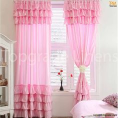 pink ruffle curtains - Google Search