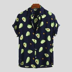 permanentfilemugglethings: Avocado Fruits Printing Summer Short Sleeve Thin Loose Casual Shirt Check out HERE Style Casual, Casual Tops, Casual Shirts, Men Casual, Camisa Nike, Cotton Shirts For Men, Men Shirts, Summer Blouses, Printed Shorts