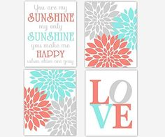 Girl Nursery Wall Art Coral Teal Aqua Gray Flower Burst Dahlia Mums Modern Floral You Are My Sunshine Song Quote LOVE Baby Nursery Decor SET OF 4 UNFRAMED PRINTS. Girl Nursery Wall Art Coral Yellow Teal Aqua Gray Flower Burst Dahlia Mums Modern Floral You Are My Sunshine Song Quote LOVE Baby Nursery Decor SET OF 4 UNFRAMED PRINTS Frames are Shown for Display Purposes Only #219.