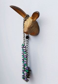 Hang by a Hare Wall Hook - Gold, Solid, Dorm Decor, Quirky