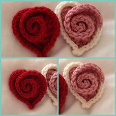 Crochet rose heart brooches