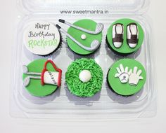 Homemade eggless customized handcrafted Golf theme personalized 3D designer cupcakes for friend at Pune