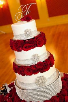 wedding cakes with red roses and bling classic n white weddings with bling on 26098