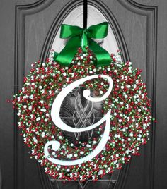 Christmas Holiday Berry Wreath - your choice of letter, ribbon, and size!