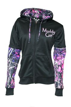 Muddy Girl Camo Zipper Front Camo Sleeves Black Hoodie Sweatshirt Moon Shine NWT