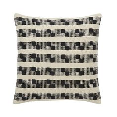 Udapur Rug stripe Black & white Cushion - B&Q for all your home and garden supplies and advice on all the latest DIY trends Diy Cushion, White Cushions, Fire Safety, Decorative Cushions, Colorful Furniture, Home Furnishings, Home Furniture, Colours, Throw Pillows