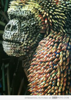 Gorilla sculpture made from pencils - A sculpture of gorilla created from colored pencils.