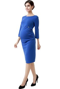 "$39.00 Momo Maternity ""Daisy"" Side Tabbed Crew Neck Dress - Blue L at Amazon Women's Clothing store:"