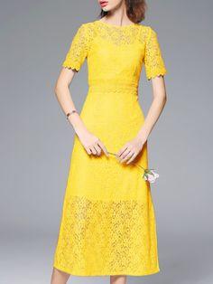 Shop Yellow Lace Split A-Line Dress online. SheIn offers Yellow Lace Split A-Line Dress & more to fit your fashionable needs.