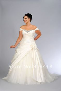 Aliexpress.com : Buy Freeshipping Hotsale Off shoulder Maxi Dresses Beading White Taffeta Sweep Train Plus Size Wedding Dress from Reliable Plus Size Wedding Dress suppliers on Elisale Wedding Dress Factory