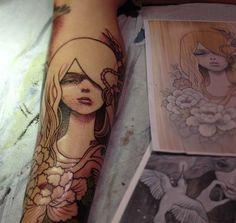 Jeff Gogue doing Audrey Kawasaki #ink #tattoo