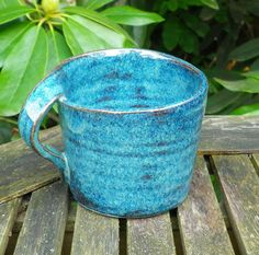 Left handed coffee mug tea cup in stoneware hand thrown ceramic pottery