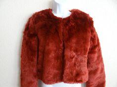 KARDASHIAN KOLLECTION BURGUNDY RED FULL FUR COAT MSRP $128.00 #KardashianKollection #FurCoat
