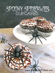 Spooky Spiderweb Cupcakes | www.DelightfulEMade.com | #cupcakes #chocolate #Halloween #spiderweb