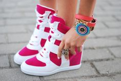 Pink high top sneaker wedges #shoes #SocialblissStyle http://www.socialbliss.com/kat-marrow/accessory-heaven-GMYTEOBX/macademian-girl-teenager-again-GE3TCNJZG4