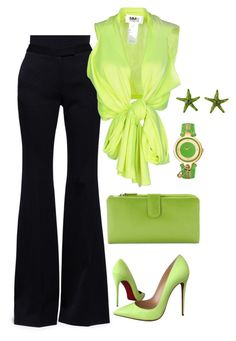 gogreen by shaimaa-el-shamy on Polyvore featuring MM6 Maison Margiela, Alexander McQueen, Christian Louboutin, ILI and Versus