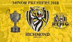Richmond Tigers finish on top of the AFL ladder for the 2018 season Richmond Football Club, West Coast Eagles, Western Bulldogs, St Kilda, Crow, Tigers, Ladder, Strong, Awesome