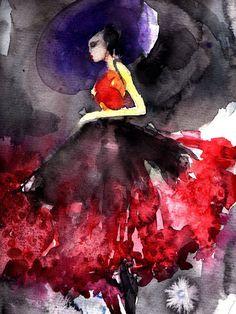 """Sylvia Baldeva; Painting, Digital """"Purple hat"""""""