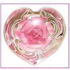 Heart - Pink Flower Paperweight