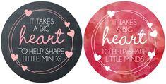 Valentine's Day Teacher Gift jar Labels