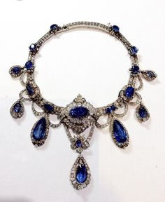 This beautiful sapphire necklace was purchased and saved from destruction by a wonderful collector! It was made about 1870-80, almost certainly by Mellerio, and set with beautifuly matched Ceylon sapphires.