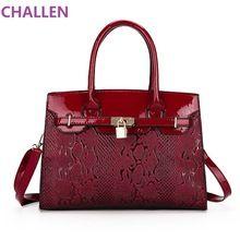 CHALLEN brand women handbag genuine leather tote bag female classic serpentine lock shoulder bags ladies handbags